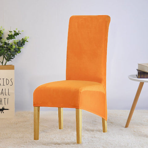 Housse de chaise xl grande taille en velours orange