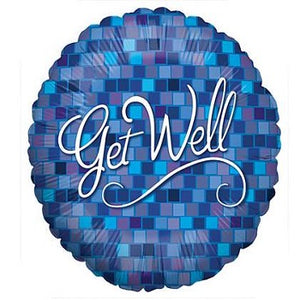 "18"" Blue Square Get Well"