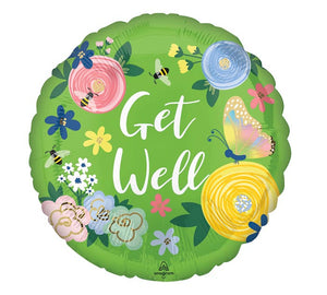 "18"" Get Well Floral Garden Balloon"