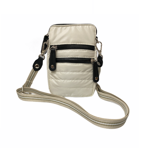 White Quilted Cell Phone Cross Body