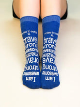 Load image into Gallery viewer, 'I am awesome' blue hospital-type grip socks - size XL