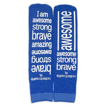 'I am awesome' blue hospital-type grip socks - size XL