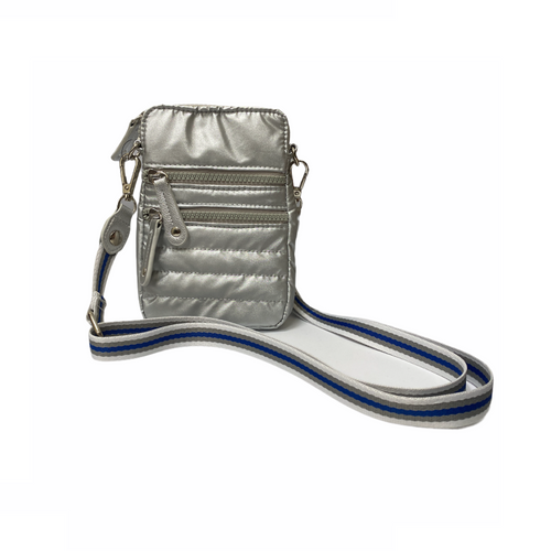 Silver Quilted Cell Phone Cross Body