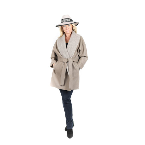 Taupe Wool Shawl Coat