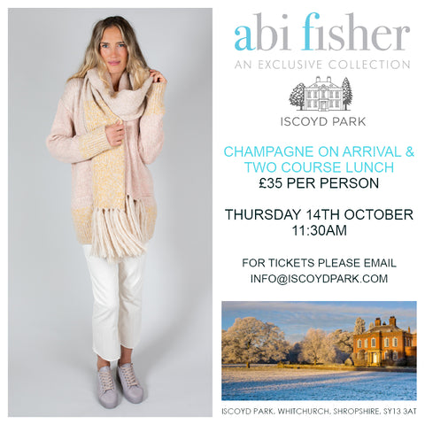 Abi Fisher promotional graphic for Iscoyd Park Fashion Show
