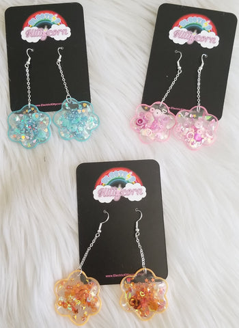 Chain Drop Flower Shaker Earrings