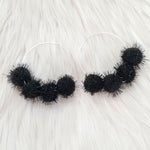 Black Sparkle Pom Pom Hoops