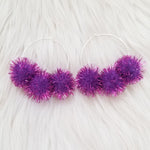 Purple Sparkle Pom Pom Hoops