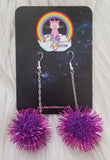Purple Sparkle Pom Pom Chain Drop Earrings