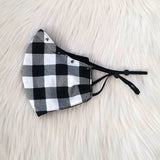 Black & White Buffalo Plaid Mask & Ear Set