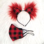 Black & Red Buffalo Plaid Mask & Ear Set