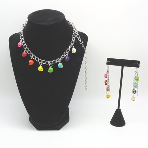 Rainbow Skull Chain Choker and Earrings Set