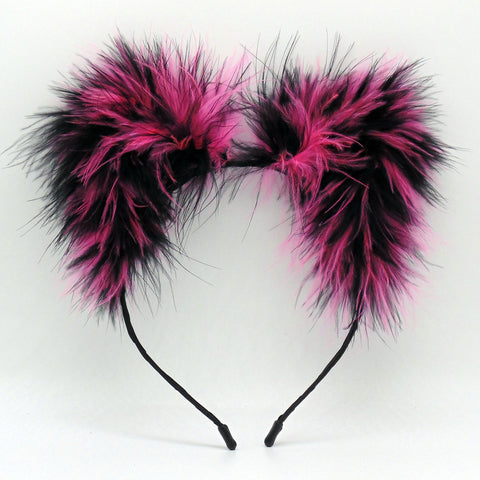 Electric Pink Zebra Fluff Kittycorn Ears