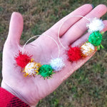 Christmas Sparkle Pom Pom Hoops