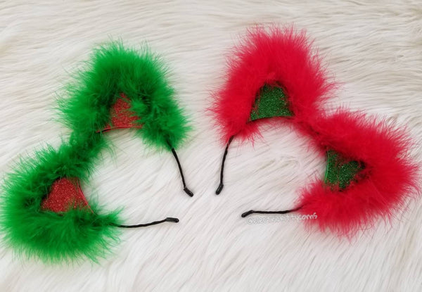 Festive Fluffy Glitter Holiday Cat Ears, Holiday Mix and Match Custom Cat Ears