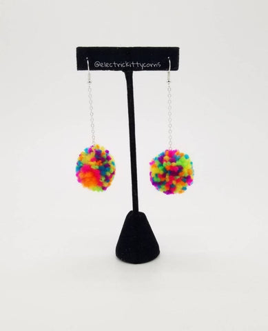 Neon Rainbow Pom-Pom Earrings