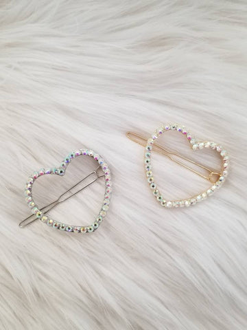 Studded Love Hair Clips
