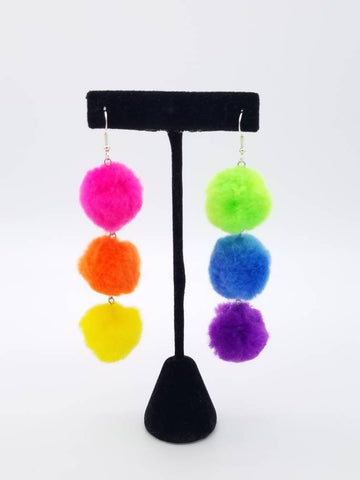 Neon Rainbow Queen Cascade Pom Pom Earrings