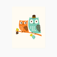 Woodland Owls Art Print