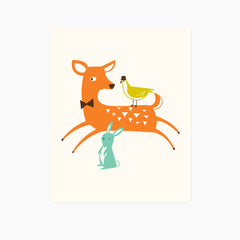Woodland Deer Art Print