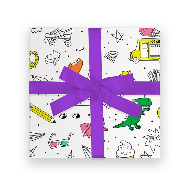 Gift Wrap - Tween Icons, DIY Color-In Wrapping Paper