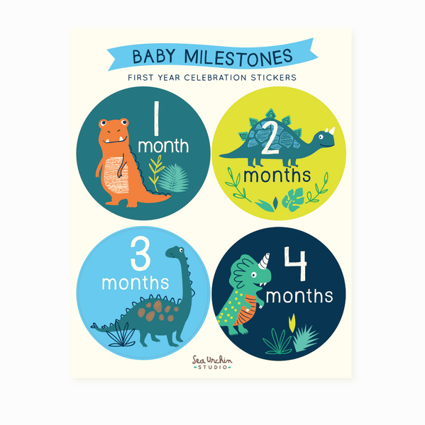 Monthly Milestone Stickers - Dinosaurs