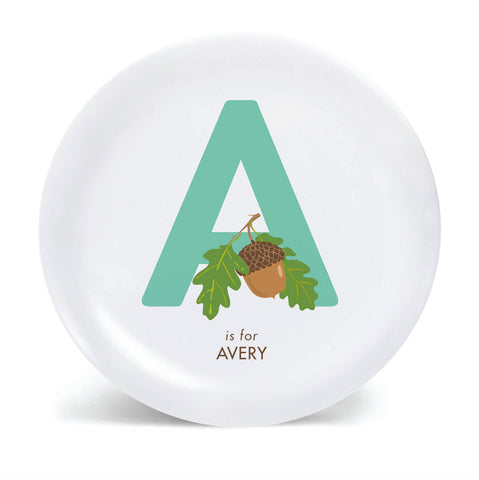 Kids PLATE - Personalized acorn alphabet plate for kids, Dish, baby gift, woodland forest