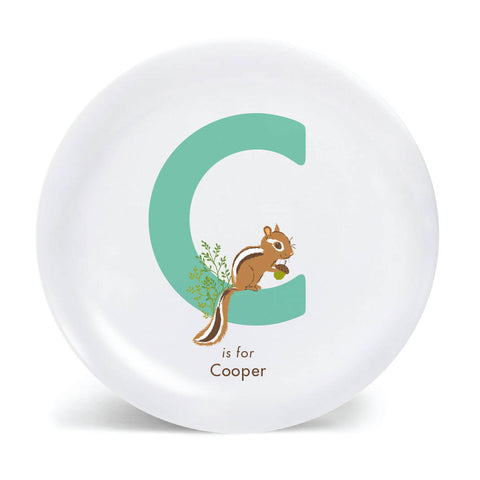 Kids PLATE - Personalized CHIPMUNK alphabet plate for kids, woodland Dish, baby gift