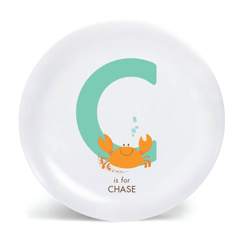 Kids PLATE - Personalized Crab alphabet plate for kids, Dish, baby gift - ocean sea