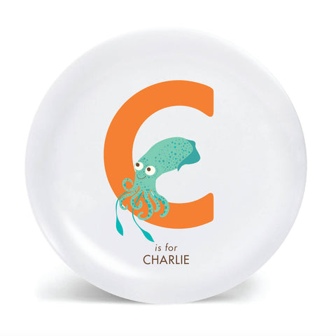 Kids PLATE - Personalized CUTTLEFISH, alphabet plate for kids, ocean sea Dish, baby gift