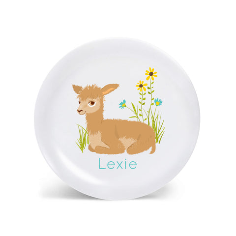 Kids PLATE - Personalized alpaca alphabet plate for kids, Dish, baby gift