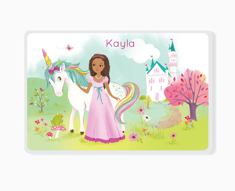 KIDS PLACEMAT - Princess and Unicorn, brown skin girl, fairytale princess