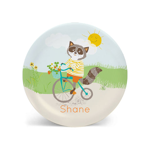 Kids PLATE - Raccoon on a Bicycle Dish for kids