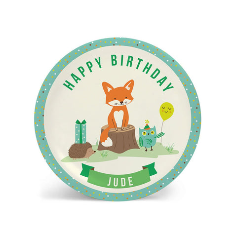 KIDS Birthday Plate - Personalized Woodland Forest Dish