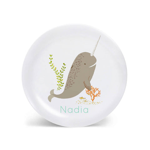 Kids PLATE - Personalized Narwhal Dish for kids - Ocean Sea