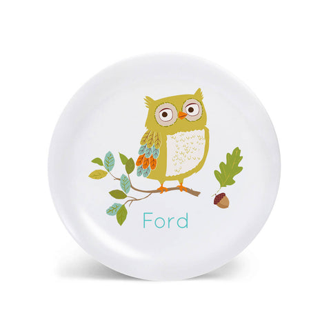 KIDS PLATE, baby gift, Personalized plate, Owl, Woodland Dish for kids, gift for boys, gift for girls