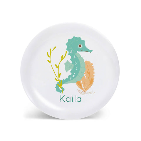 Kids PLATE - Personalized Seahorse Dish for kids - Ocean Sea