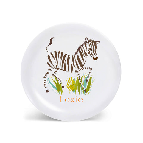Kids PLATE - Personalized Zebra plate for kids, safari Dish, baby gift