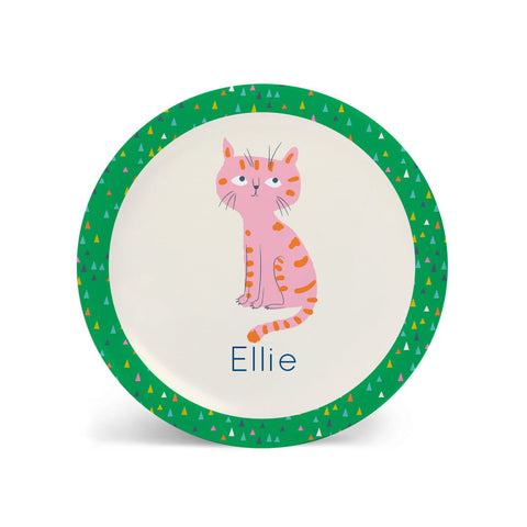 Kids PLATE - Personalized CAT alphabet plate for kids, ocean sea Dish, baby gift