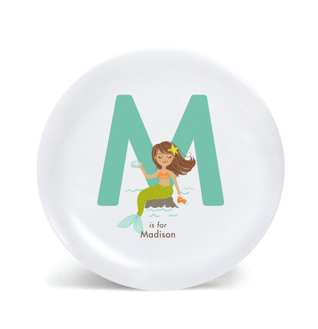 Kids PLATE - Personalized MERMAID alphabet plate for kids, ocean Dish, baby gift