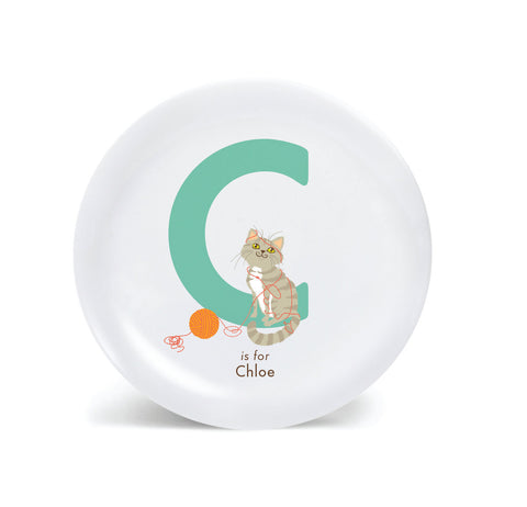 Kids PLATE - Personalized CAT alphabet plate for kids, Dish, baby gift