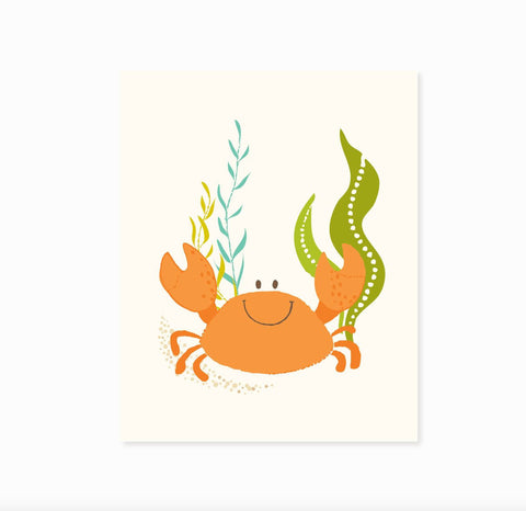 Crab wall art, ocean art for kids, nursery wall decor for children