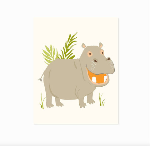 Hippo - safari,zoo, hippopotamus, wall art - nursery wall decor for children