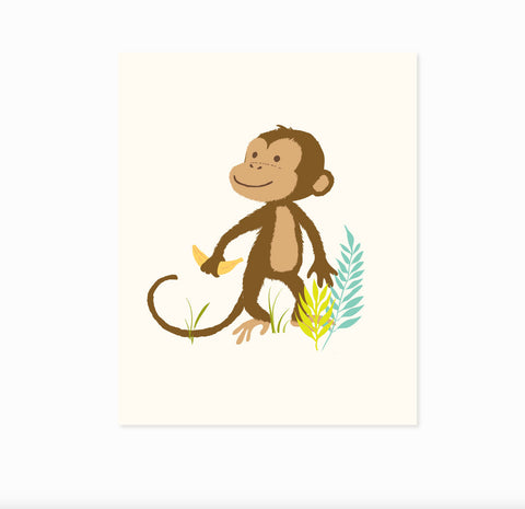 Monkey wall art, safari zoo art for kids, nursery wall decor for baby