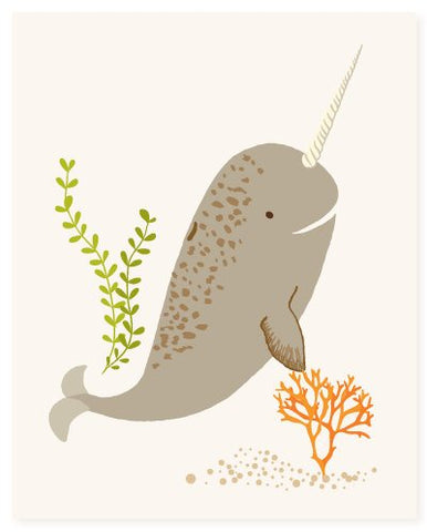narwhal wall art, ocean art for kids, nursery wall decor for baby