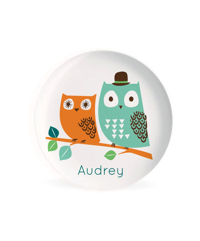 KIDS PLATE, baby gift, Personalized plate,  modern, Owl, Woodland Dish for kids, gift for boys, gift for girls
