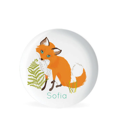 KIDS PLATE, baby gift, Personalized plate,  fox, Woodland, Dish for kids, gift for boys, gift for girls