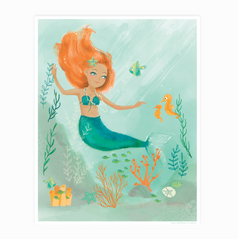 Mermaid Watercolor Poster Wall Art