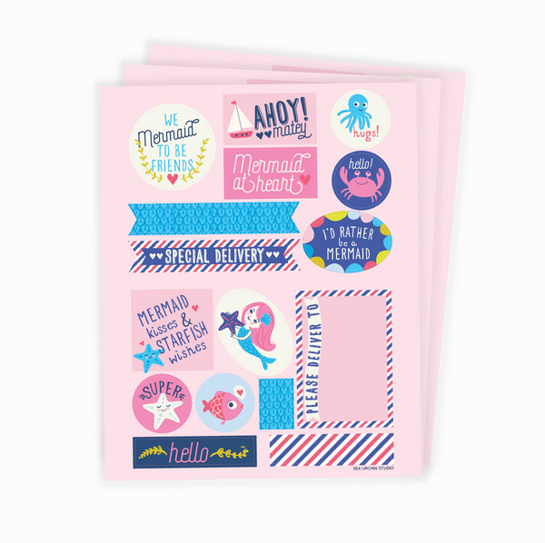Mermaid stickers & labels set