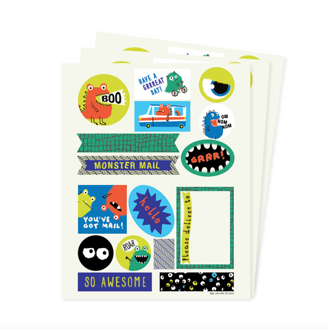Monsters stickers & labels set